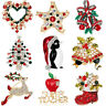 Fashion Christmas Tree Deer Bell Snowman Enamel Brooch Pin Xmas Party Jewelry PE