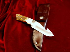 RARE 1996 SLAB SIDE STAG BONE 7 Dot BEAR MGC USA GUT HOOK KNIFE Vtg HUNTING CASE