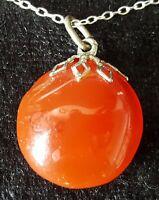 Sterling silver & orange agate vintage Art Deco antique round pendant