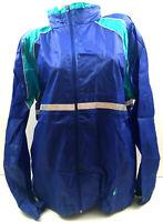Vtg Champion Mens Windbreaker Jacket Color Block Logo Nylon Zip Retro Blue Sz L