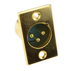 XLR 3 Pin Enchufe Micrófono Chasis Montaje en Panel Soldadura Placa Oro