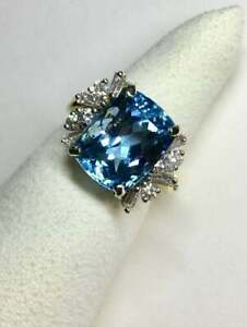 Rare Santa Maria 12.00Ct Aquamarine With Baguette & Round 1.20CT Wedding Ring
