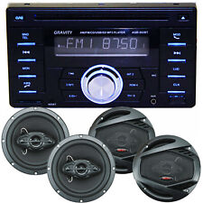 Gravity Double Din Bluetooth Car Audio Stereo CD MP3 w/ USB AUX AM/F 4x Speakers