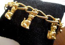 Bracelet maille gourmette pampilles chat en relief couleur or bijou rétro 3489