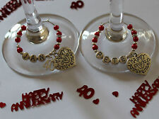 40th Ruby Wedding anniversary gift - wine glass charms