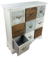 Cabinet 9 Drawers Solid Wood Storage Solution Unit Rustic Distress Finish 64cm