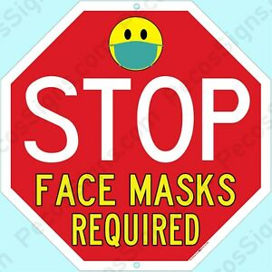 """Stop Face Masks Required 12""""x12"""" Aluminum Sign Made in USA UV Pro"""