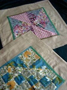 = TWO SIMILAR VINTAGE PATCHWORK CUSHION COVERS - SHABBY CHIC - c 1990s  [A55]