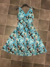 Laundry By Shelli Segal Blue Floral Gorgeous Gathered Design A-Line Dress Sz 10