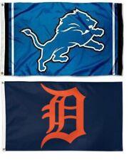 1 Detroit Lions Nfl & 1 Detroit Tigers Mlb ~ 3'x5' Sports Flags Banners