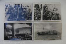 4 vecchie cartoline CINA , SS hai Ching distrutta dai pirati inserimento HK nel 1829