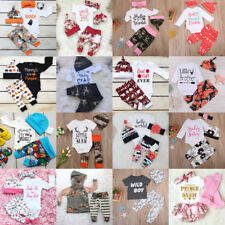 Toddler Kids Baby Boys Girls Cute Tops Romper +Long Pants Outfits Cotton Clothes