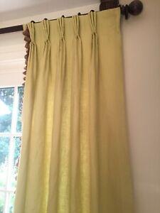 """1 Panel Custom Pinch Pleat Drapes Curtains 21""""x85"""", Lined, green w/ Tassel Trim"""