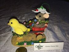 """Charming Tails """"Chickie Chariot Ride"""" * Dean Griff Mouse Fitz & Floyd Leaf"""