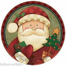 """8 Christmas Cosy Cheerful Santa Claus Party Large 9"""" Disposable Paper Plates"""