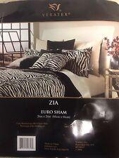 Veratex  00006000 ~ Zia ~ European Euro Pillow Sham ~ 26x26 ~ Black Cream Solid ~ New