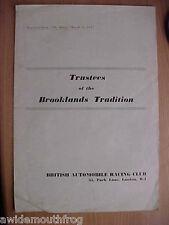 """CIAB fiduciarios de Brooklands tradición """"prueba de carretera"""" reimpreso de El Motor 1957"""