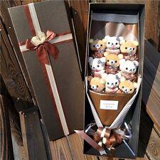 Bunch of 9 Rilakkuma Dolls flowers Plush Stuffed Toys Bithday Creative Gift Box