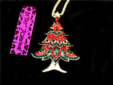 Betsey Johnson Fashion crystal Christmas tree Pendant Necklace Sweater Chain