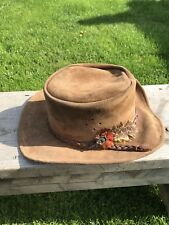 Vtg Walkabout Real Leather Hats , Fedora, Brown