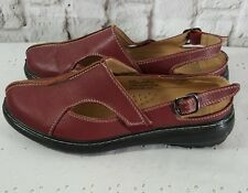 Ingaro Red Burgundy Sportie Slingback Comfort Shoes Sz 7 Womens Leather Flats