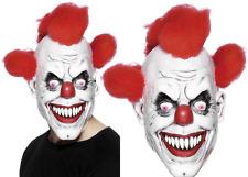 Scary Clown Mask Adult Mens Latex & Red Hair Halloween Evil Killer Fancy Dress