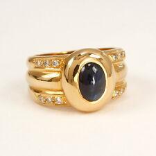Ring in 750 Gelbgold  mit Brillant 0,15 ct. w.si und Safir-Cabochon 1,67 ct