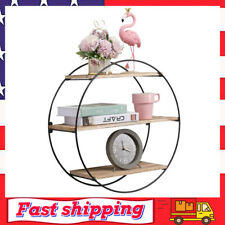 Floating Shelves Wall Mounted 3 Tier Geometric Round Wall Shelve Decorative Wood