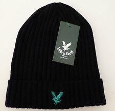 Lyle & Scott mens navy blue beanie hat green eagle NEW ribbed wool woollen
