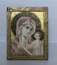 More details for antique framed madonna & child watercolour & halo collage picture icon