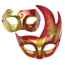 """His & Hers Halloween Mask Set. Venetian Masquerade Party  - """"Aurora"""" Red / Gold"""
