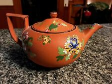 LOVELY ANTIQUE WEDGWOOD ROSSO ANTICO FLORAL ENAMELED TEAPOT!