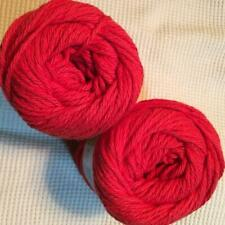 #11 Lot of 2 Peaches n Cream Yarn 190 yds 4oz Total 100% Cotton Red
