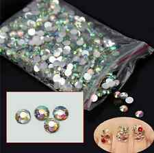 1000Pcs 4mm Fashion Nail Art Facets Rhinestone Flatback Crystal AB Round Beads
