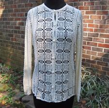 Vintage Ladies Ivory Hand Crocheted Cardigan Sweater by Daffodil Sz M