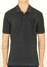 GUCCI Mens XXL gray HORSE & Logo EMBROIDERY cotton Pique POLO shirt NWT Authentc