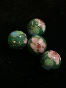 4 Vintage Green w Pink Flowers Leaves Cloisonne Chinese Enamel Round Beads 10mm