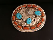 "NAVAJO  * BELT BUCKLE - "" STERLING SILVER BEAR - CORAL & TURQUOISE "" by ""H"""