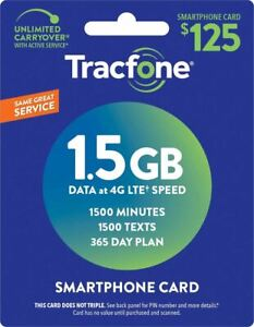 TracFone (Smartphone Only) Airtime Prepaid Service Card - Mail Delivery - 1.5GB