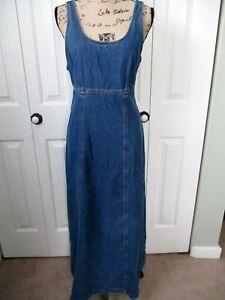 Vtg 80's Karen Kane Denim Boho Hippie Maxi Bib Overall Jumper Dress Sz 8 USA