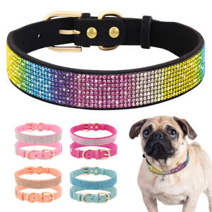 Crystal Dog Collars Fancy Small Bling Rhinestone Leather Dog Collar Cat Necklace