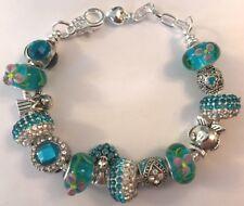 ❤️European CHARM BEADS BRACELET ~ AQUA Beads w/ Sterling Silver Plated Chain❤️
