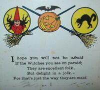 Halloween Postcard Poem Gibson Witch Brooms Bat Black Cat 1916 Vintage Original
