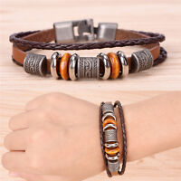 Retro Leather Bracelet Men Punk Bracelet Handmade Brown Leather Bracelet In-^S