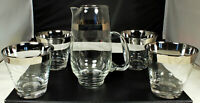 4 THORPE Glasses 8oz SILVER BAND Cocktail/DOF/Lowball + 1965 Libbey Pitcher 22oz