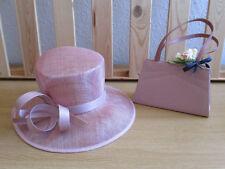 Ladies BHS Dusky Pink Hat & Small Handbag Set - Wedding - Races