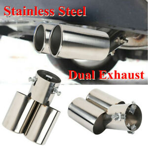 60MM Double-Barrel Car Exhaust Pipe Tail Muffler Stainless Steel Anti-corrosive