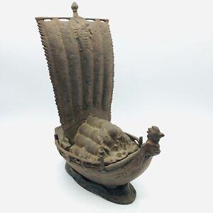 Vtg Oxidized Bronze Metal Japanese Takarabune Treasure Ship Trinket Box with Lid