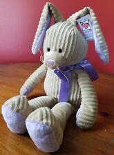 "Ganz Loppy NEW Bunny Rabbit Plush Ribbed Brown Tan Purple Ribbon 17"""