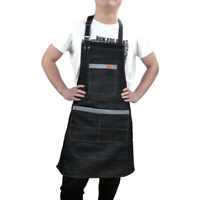 Denim Apron Kitchen Bib Pinafore Chef Restaurant Uniform Cook Workwear 3 Pockets